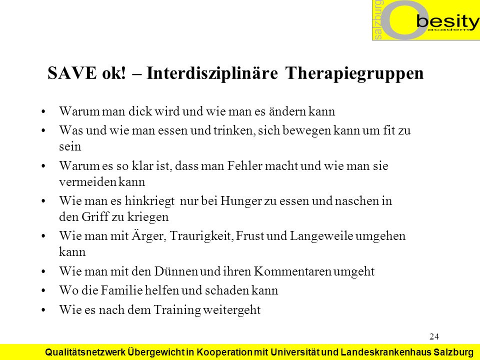 SAVE ok! – Interdisziplinäre Therapiegruppen