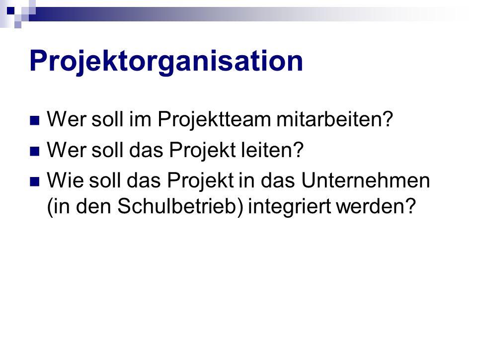 Projektorganisation Wer soll im Projektteam mitarbeiten