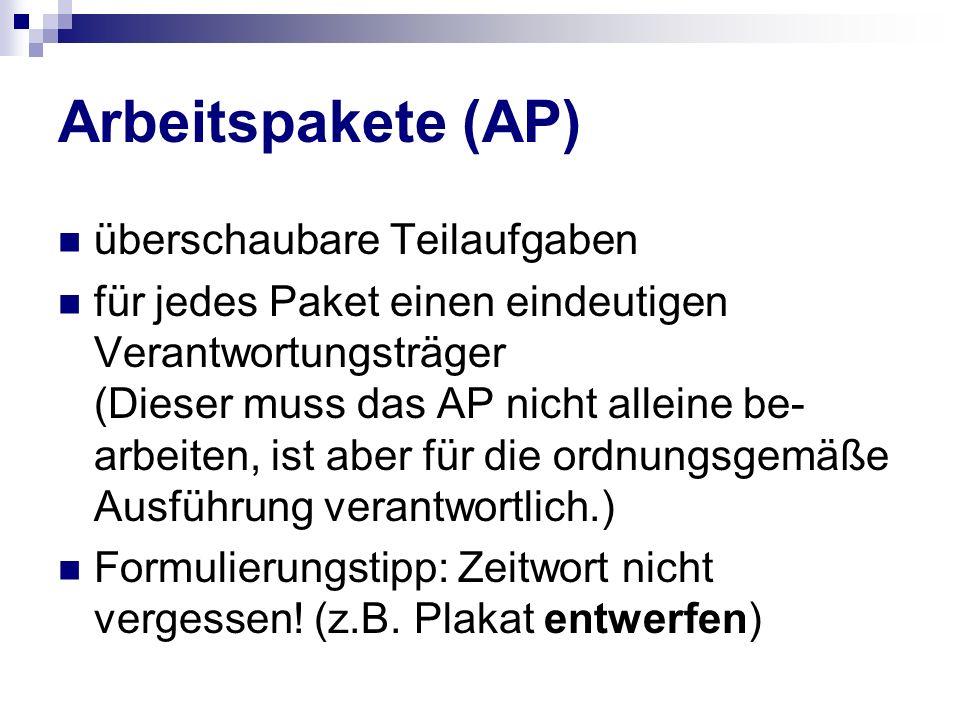 Arbeitspakete (AP) überschaubare Teilaufgaben