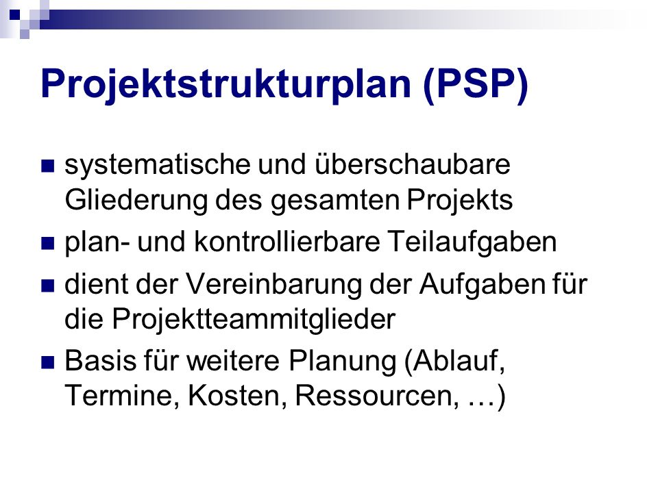 Projektstrukturplan (PSP)