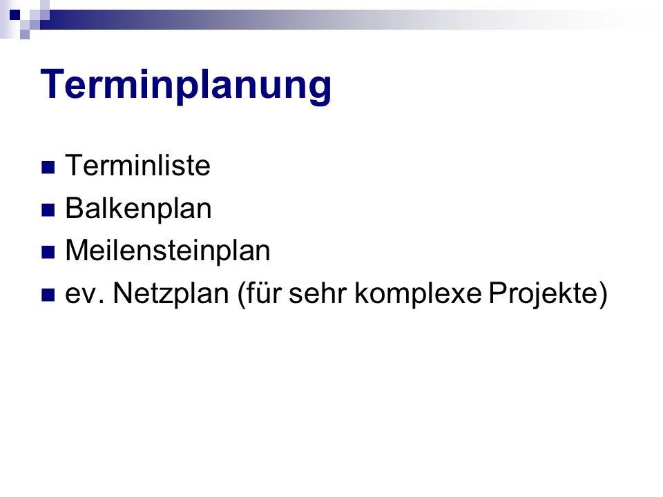 Terminplanung Terminliste Balkenplan Meilensteinplan