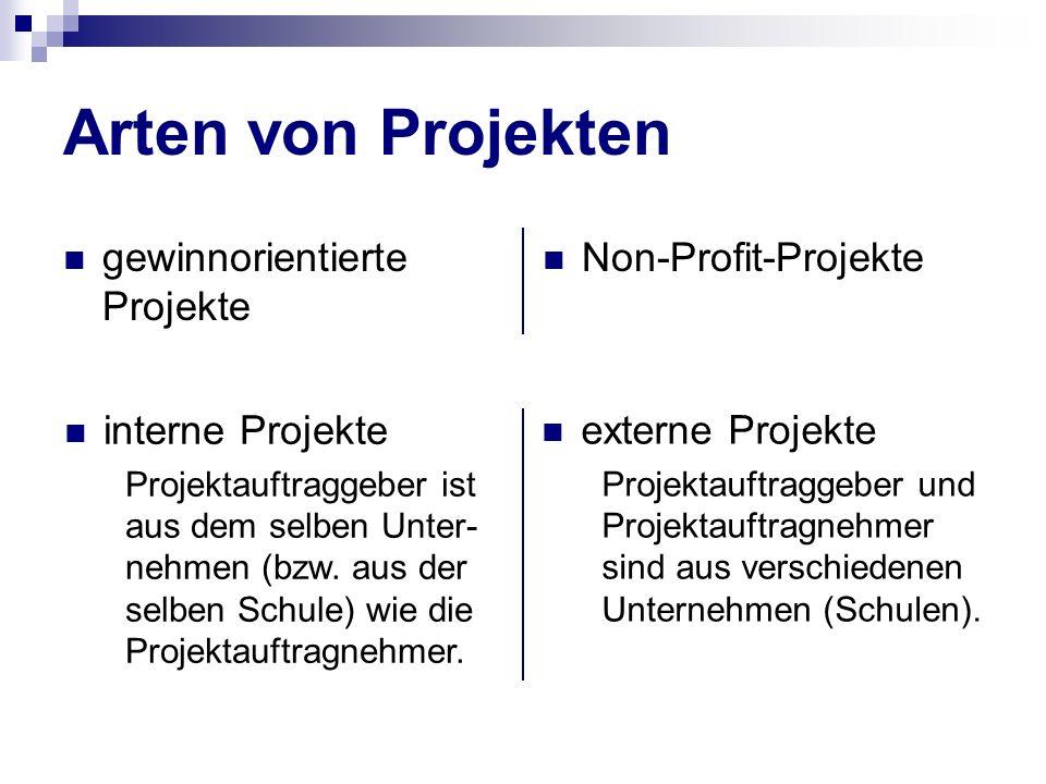 Arten von Projekten gewinnorientierte Projekte Non-Profit-Projekte