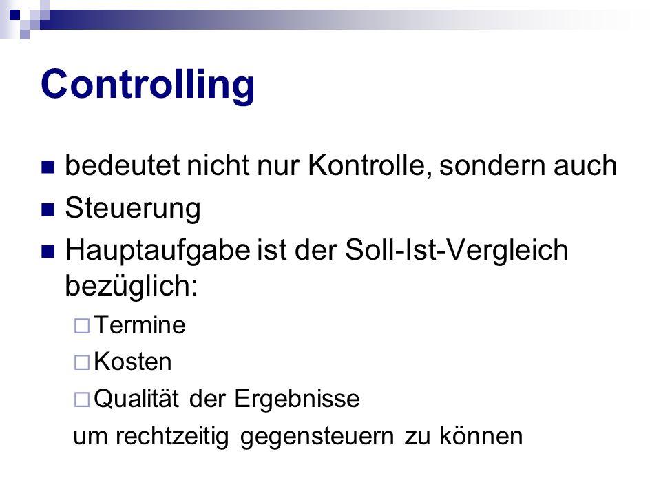 Controlling bedeutet nicht nur Kontrolle, sondern auch Steuerung