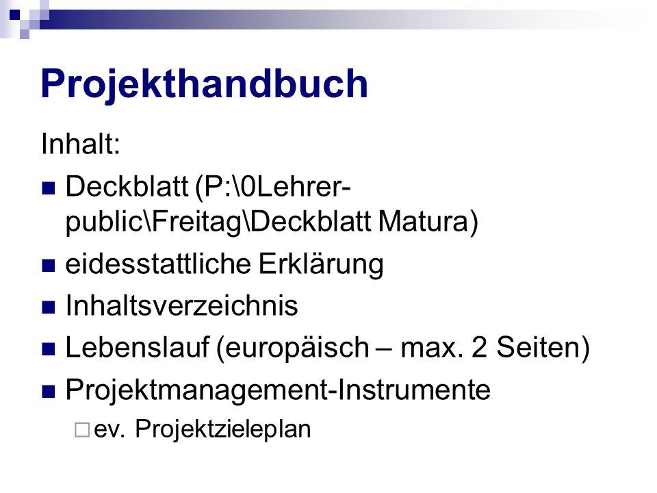 Projekthandbuch Inhalt: