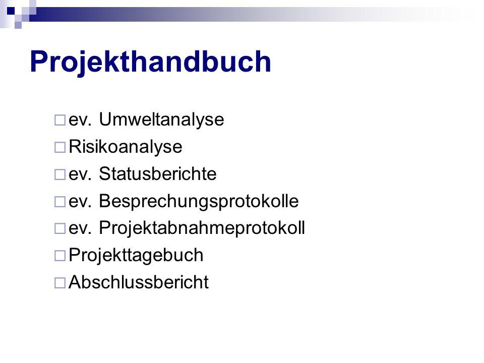 Projekthandbuch ev. Umweltanalyse Risikoanalyse ev. Statusberichte