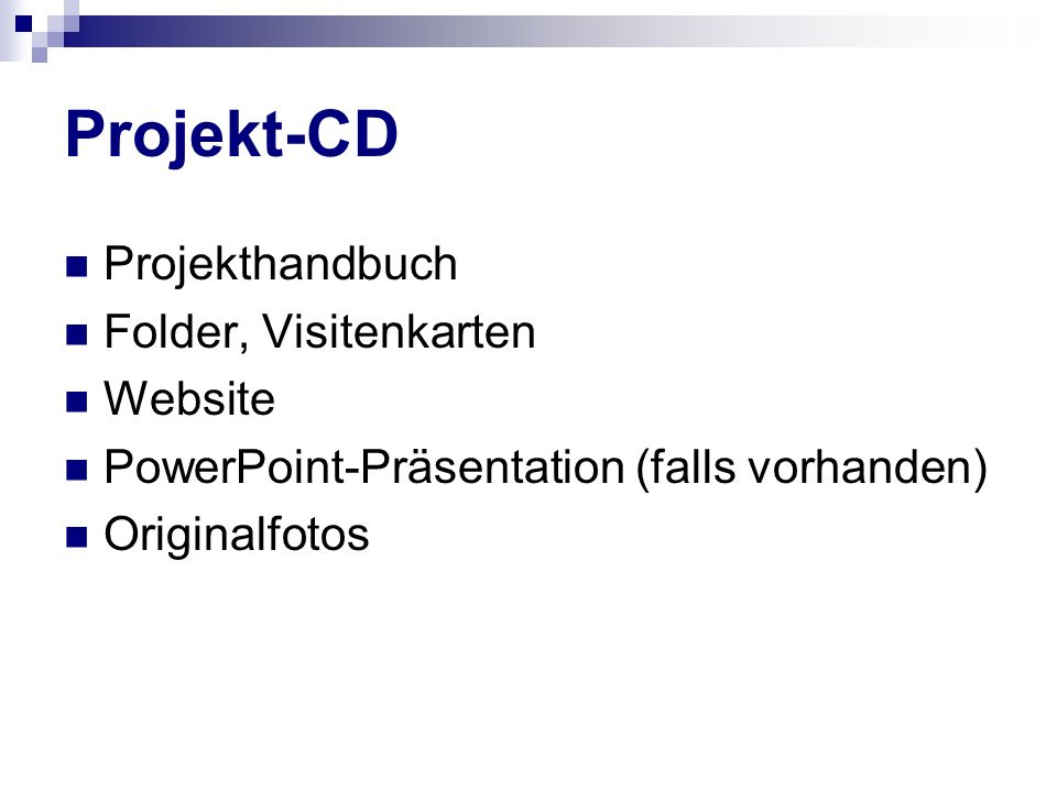 Projekt-CD Projekthandbuch Folder, Visitenkarten Website