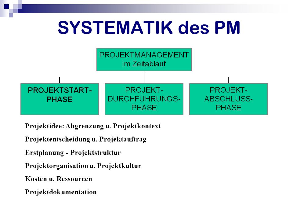 SYSTEMATIK des PM Projektidee: Abgrenzung u. Projektkontext