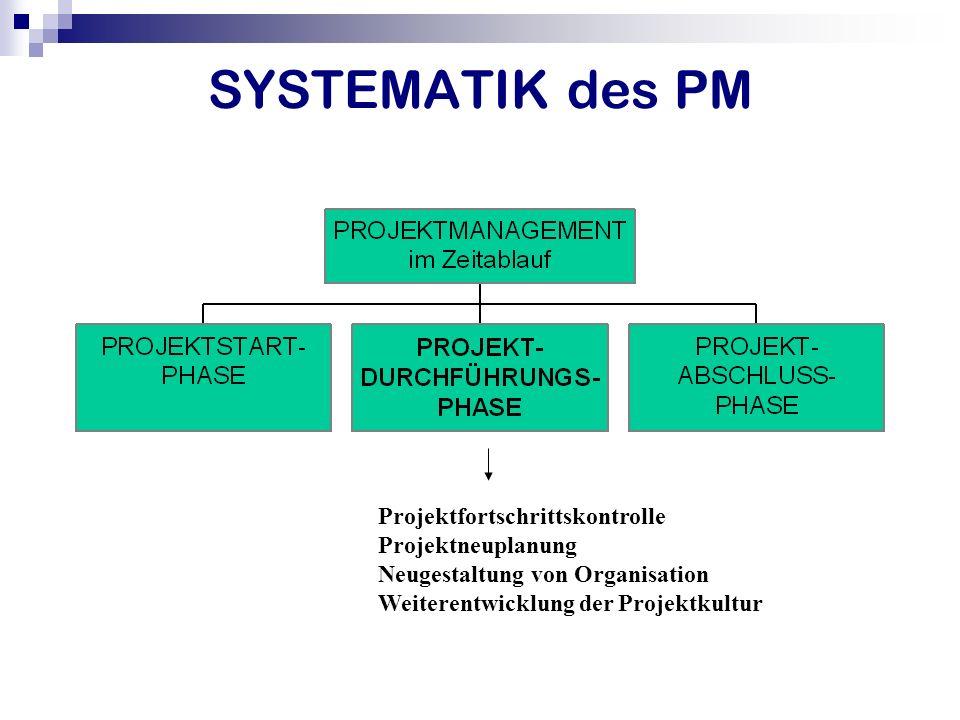 SYSTEMATIK des PM Projektfortschrittskontrolle Projektneuplanung