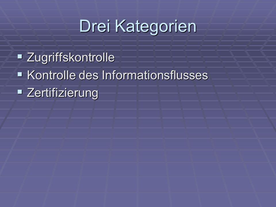 Drei Kategorien Zugriffskontrolle Kontrolle des Informationsflusses