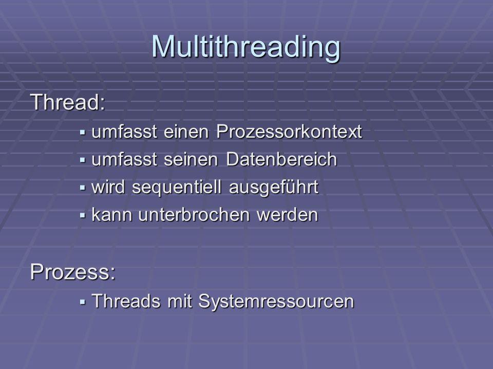 Multithreading Thread: Prozess: umfasst einen Prozessorkontext