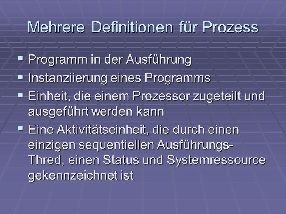 Mehrere Definitionen für Prozess