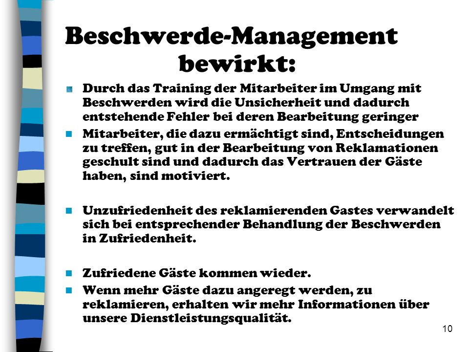 Beschwerde-Management bewirkt: