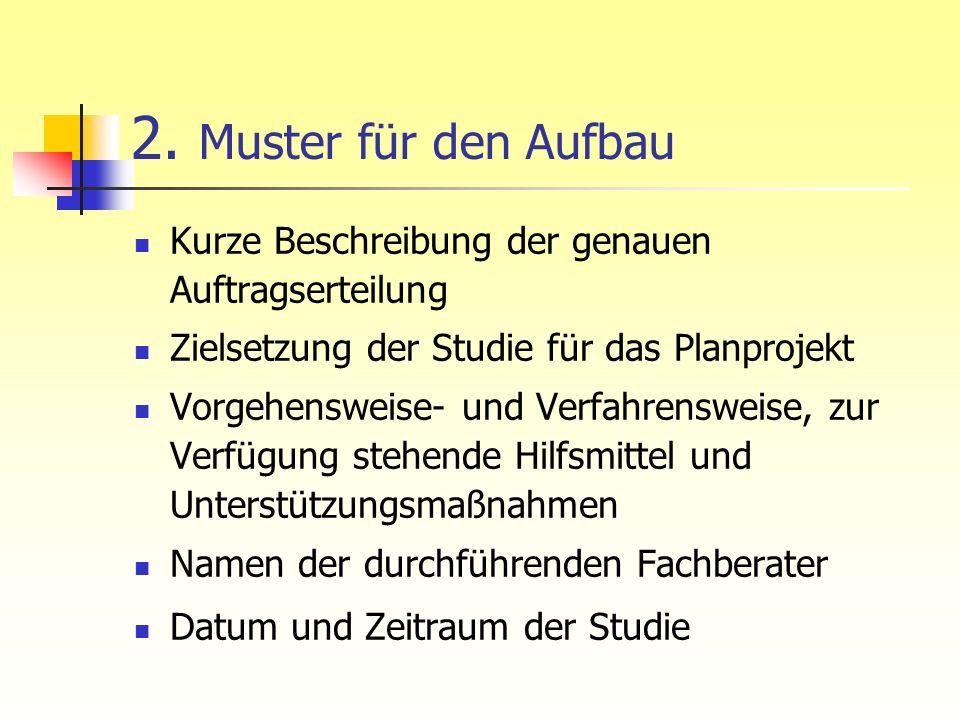 2. Muster für den Aufbau Kurze Beschreibung der genauen Auftragserteilung. Zielsetzung der Studie für das Planprojekt.