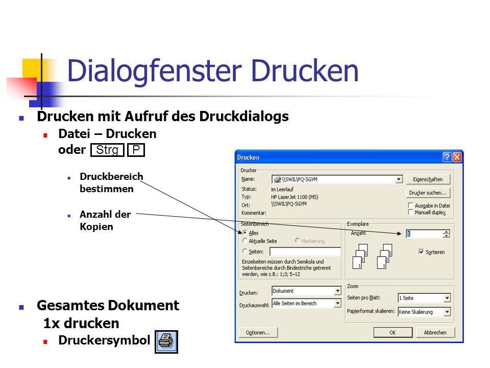 Dialogfenster Drucken