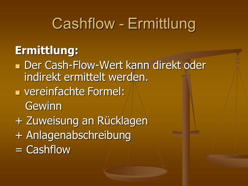Cashflow - Ermittlung Ermittlung: