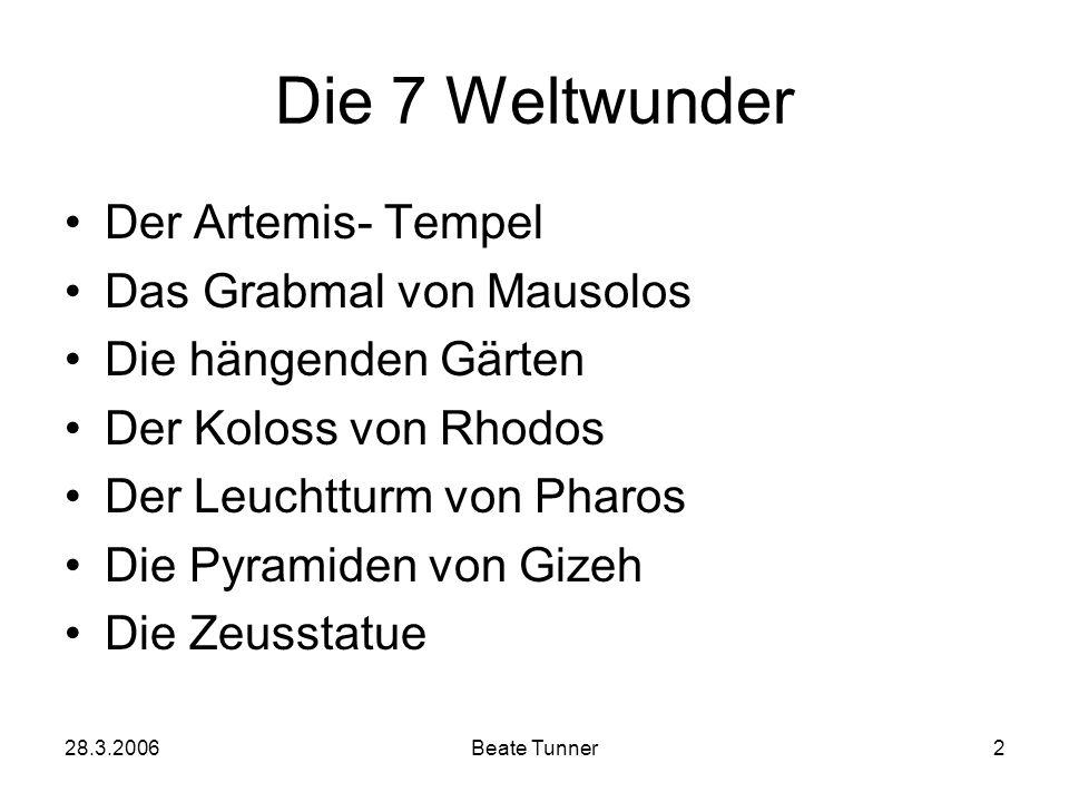 Die 7 Weltwunder Der Artemis- Tempel Das Grabmal von Mausolos