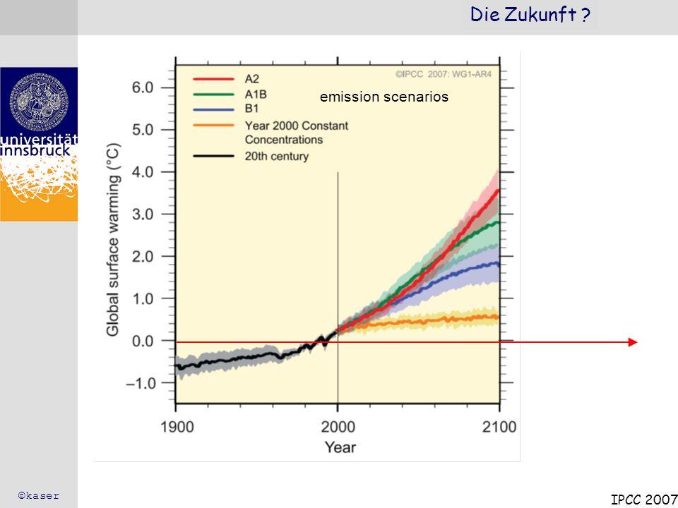 Die Zukunft emission scenarios ©kaser IPCC 2007