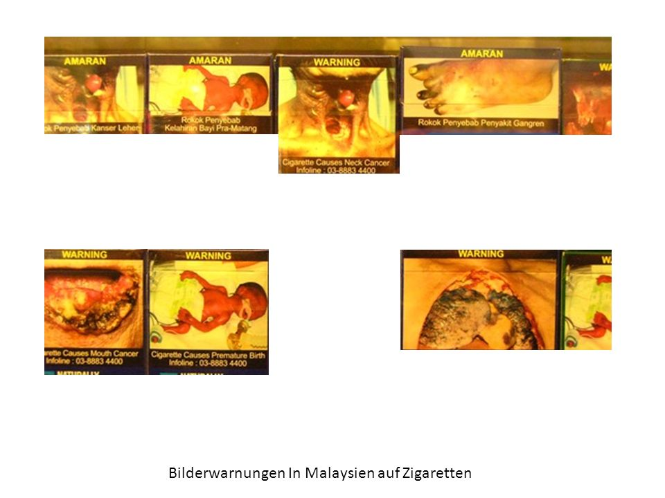 Bilderwarnungen In Malaysien auf Zigaretten