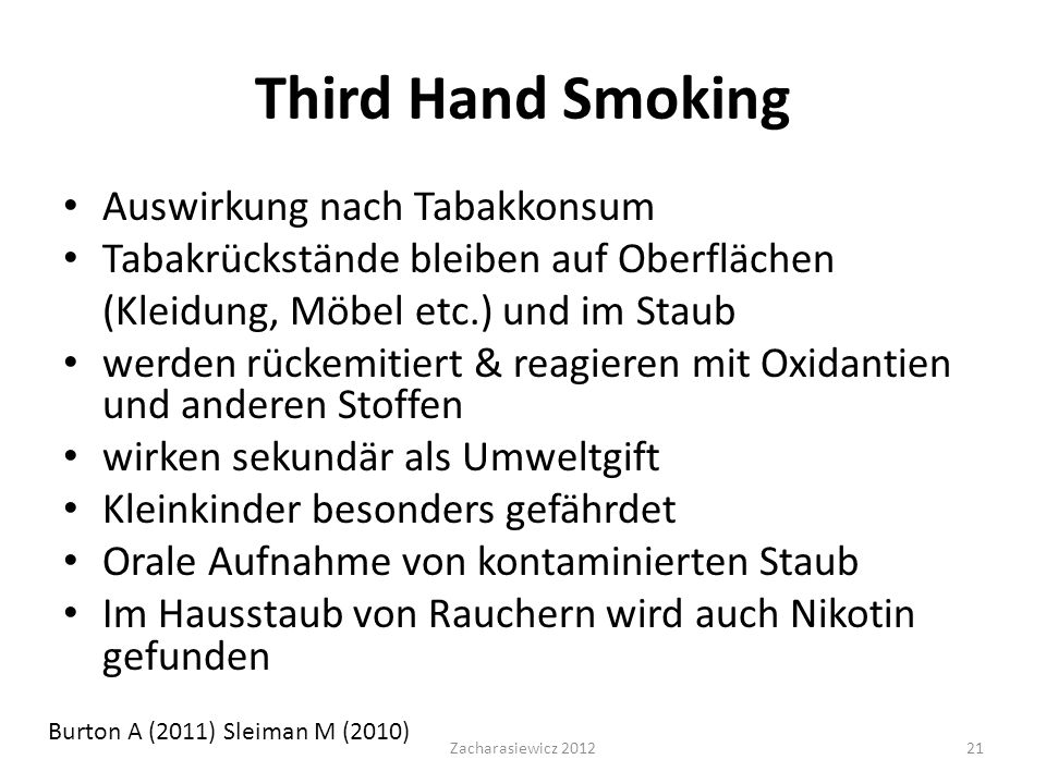 Third Hand Smoking Auswirkung nach Tabakkonsum