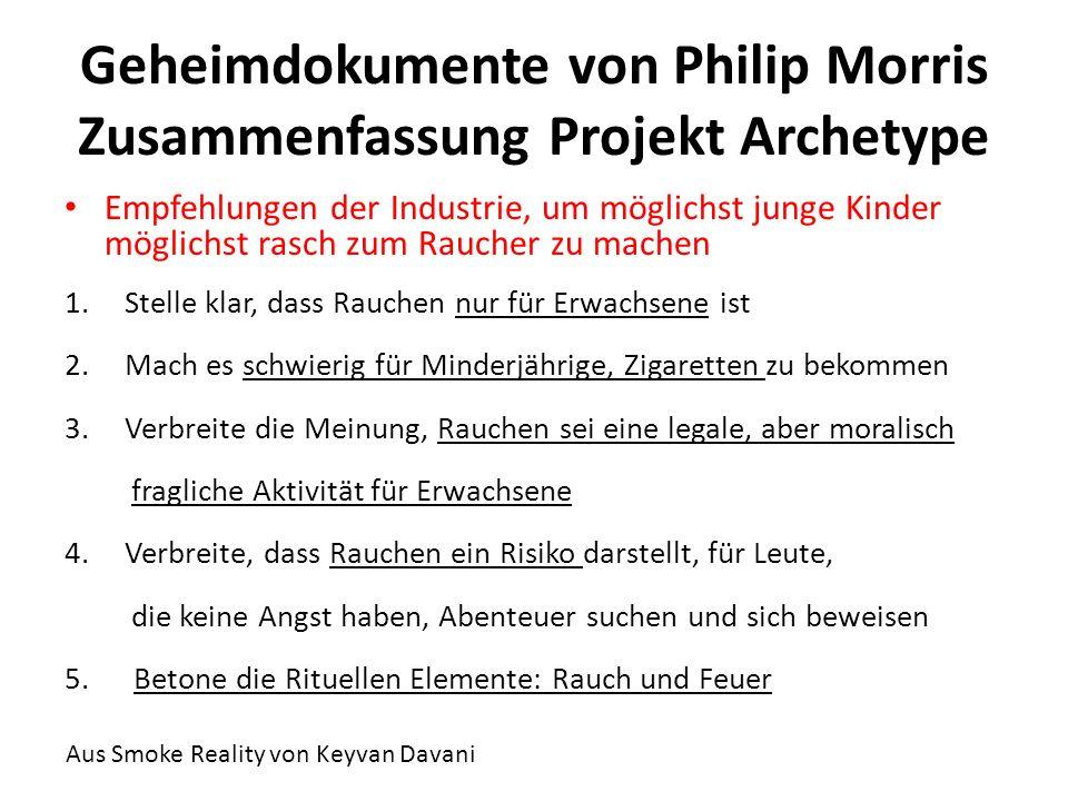Geheimdokumente von Philip Morris Zusammenfassung Projekt Archetype