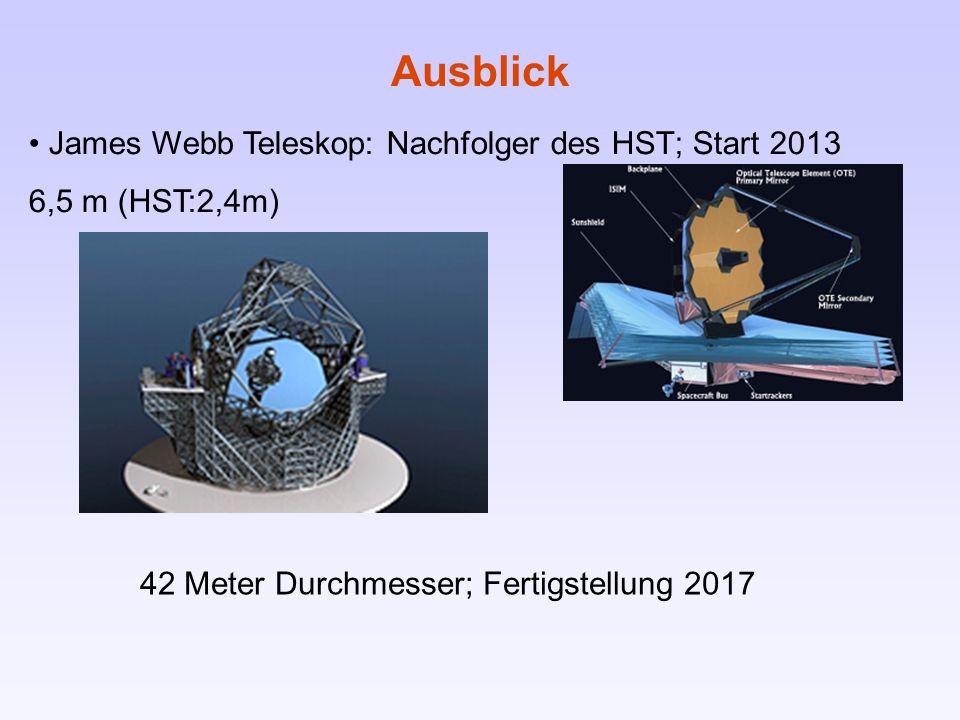 Ausblick James Webb Teleskop: Nachfolger des HST; Start 2013