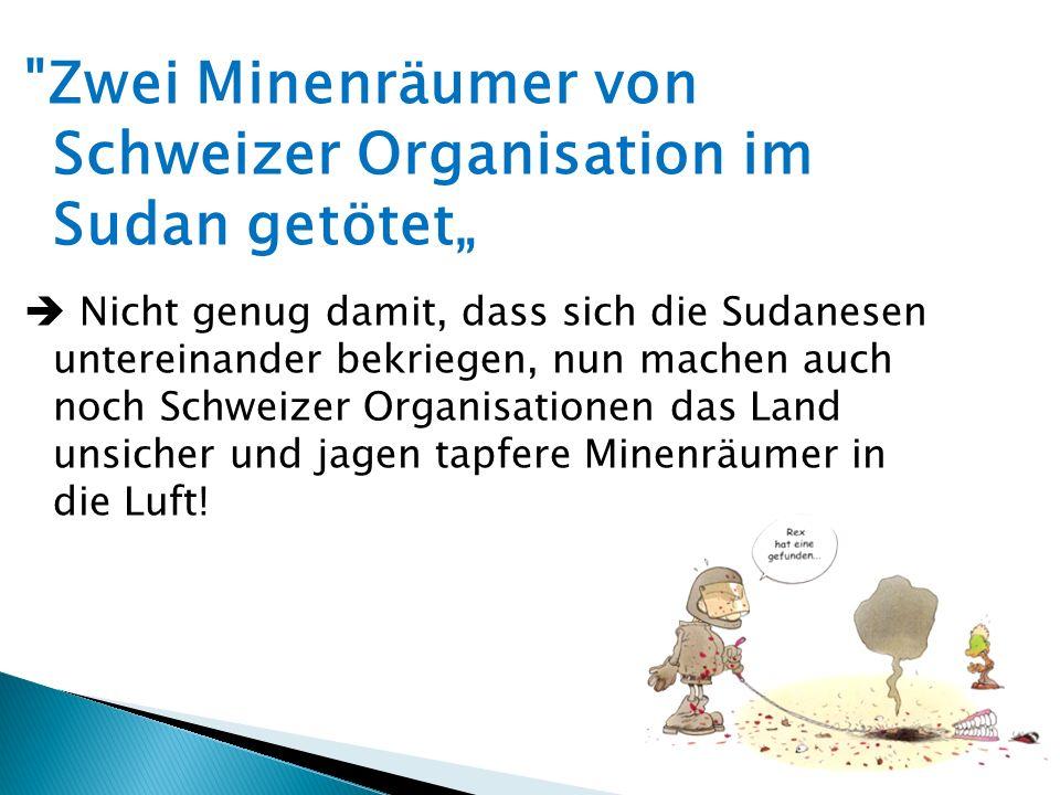 """Zwei Minenräumer von Schweizer Organisation im Sudan getötet"""""""