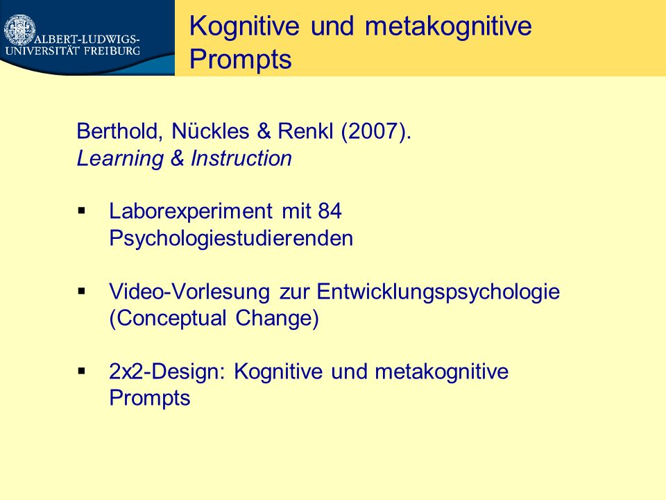 Kognitive und metakognitive Prompts