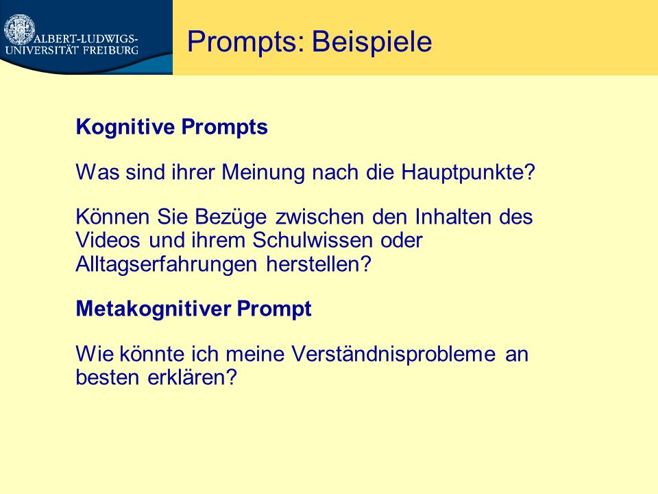 Prompts: Beispiele Kognitive Prompts