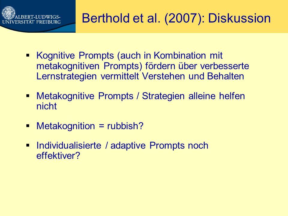 Berthold et al. (2007): Diskussion