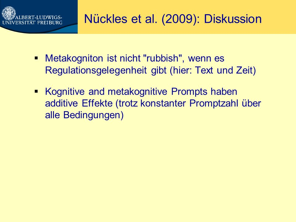 Nückles et al. (2009): Diskussion