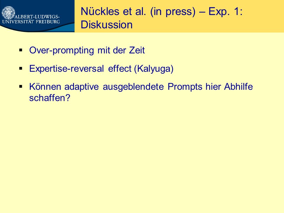 Nückles et al. (in press) – Exp. 1: Diskussion