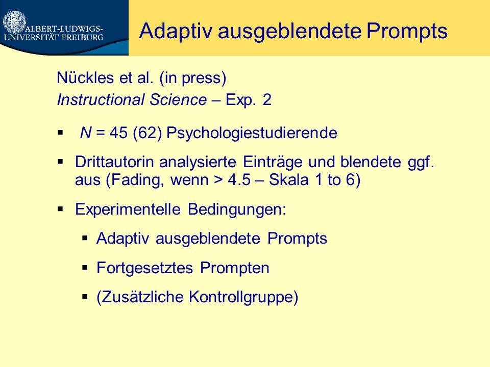 Adaptiv ausgeblendete Prompts