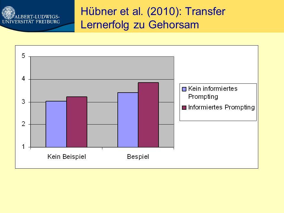 Hübner et al. (2010): Transfer Lernerfolg zu Gehorsam