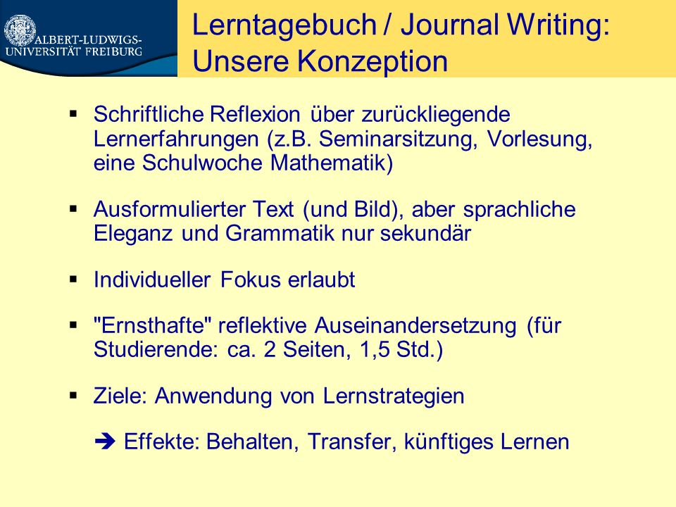 Lerntagebuch / Journal Writing: Unsere Konzeption