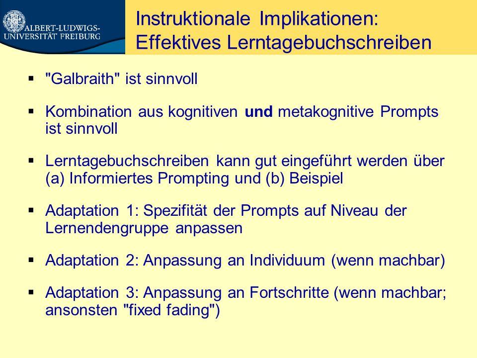 Instruktionale Implikationen: Effektives Lerntagebuchschreiben