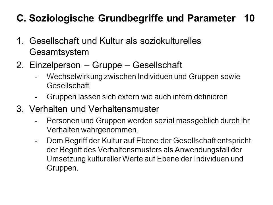 C. Soziologische Grundbegriffe und Parameter 10