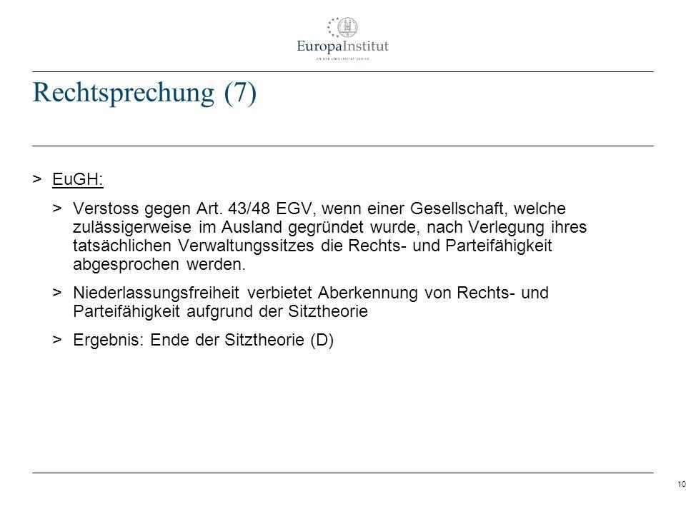 Rechtsprechung (7) EuGH: