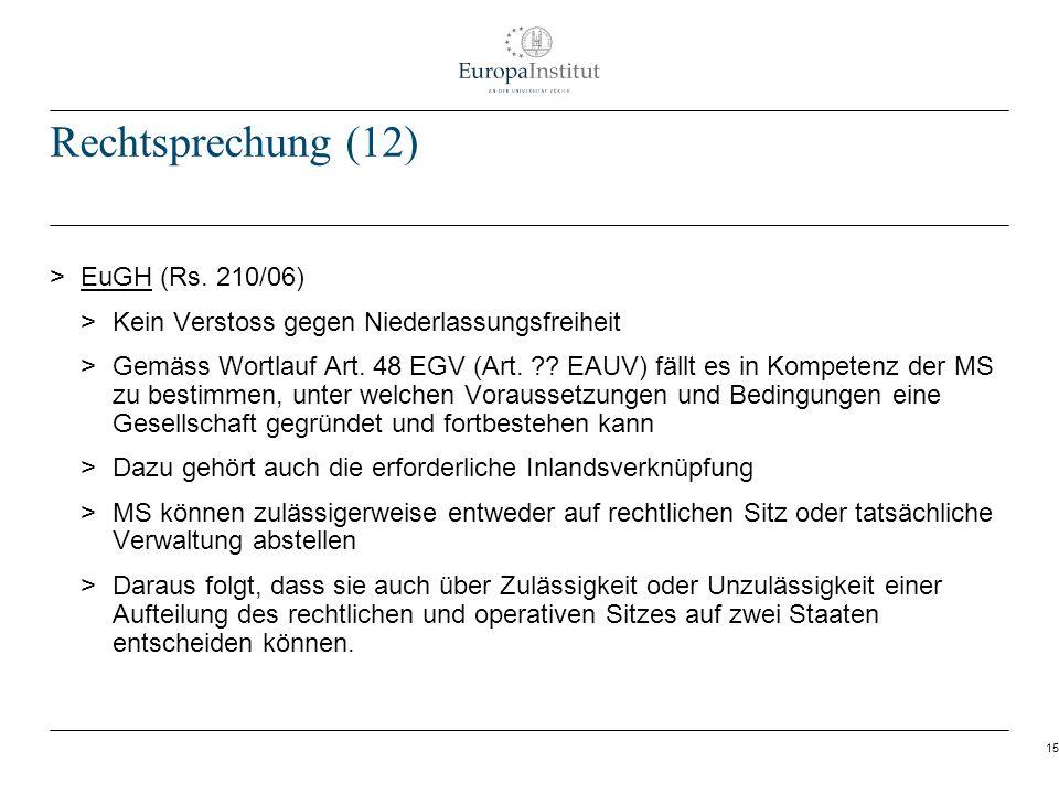 Rechtsprechung (12) EuGH (Rs. 210/06)