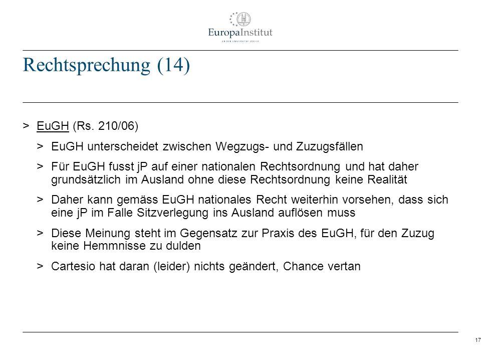 Rechtsprechung (14) EuGH (Rs. 210/06)