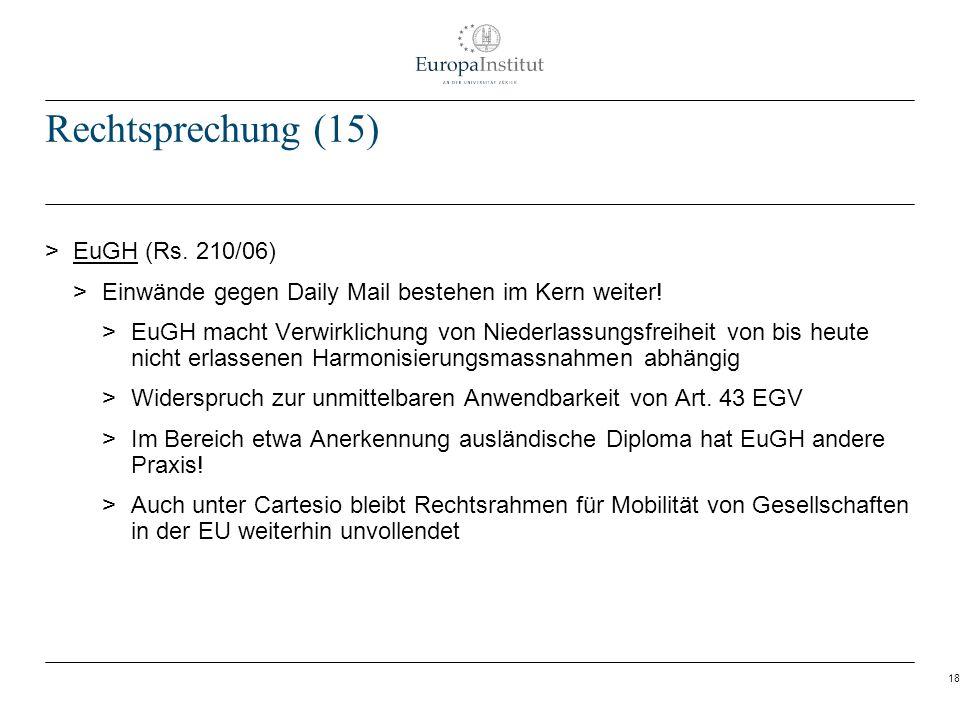 Rechtsprechung (15) EuGH (Rs. 210/06)