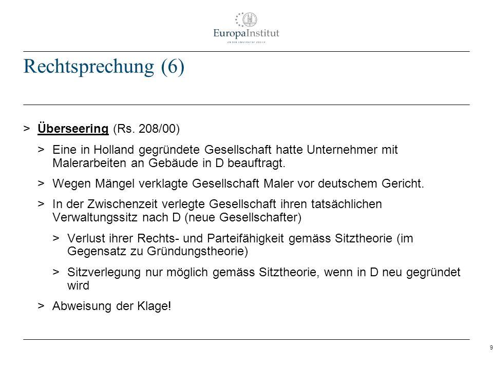 Rechtsprechung (6) Überseering (Rs. 208/00)