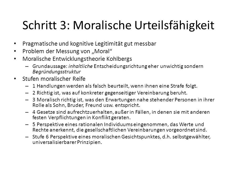 Schritt 3: Moralische Urteilsfähigkeit