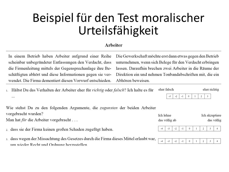 Beispiel für den Test moralischer Urteilsfähigkeit