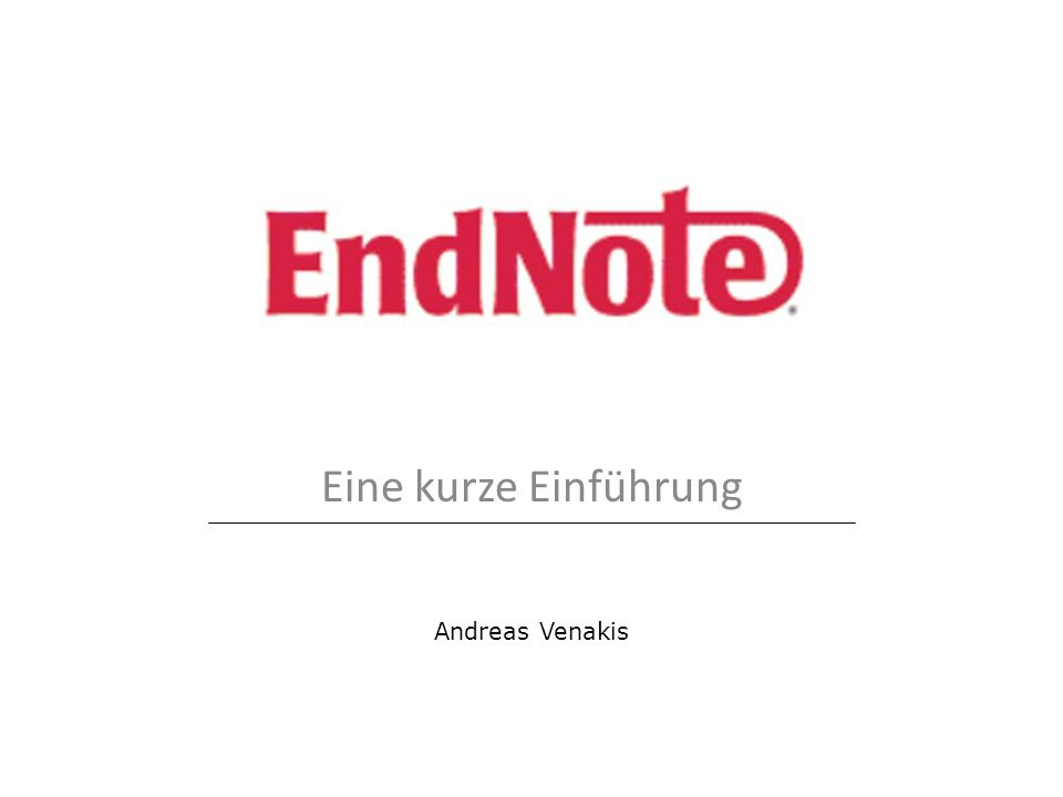 Eine kurze Einführung Andreas Venakis