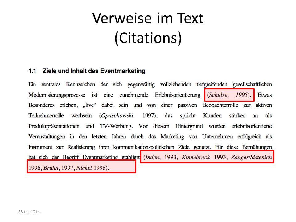 Verweise im Text (Citations)