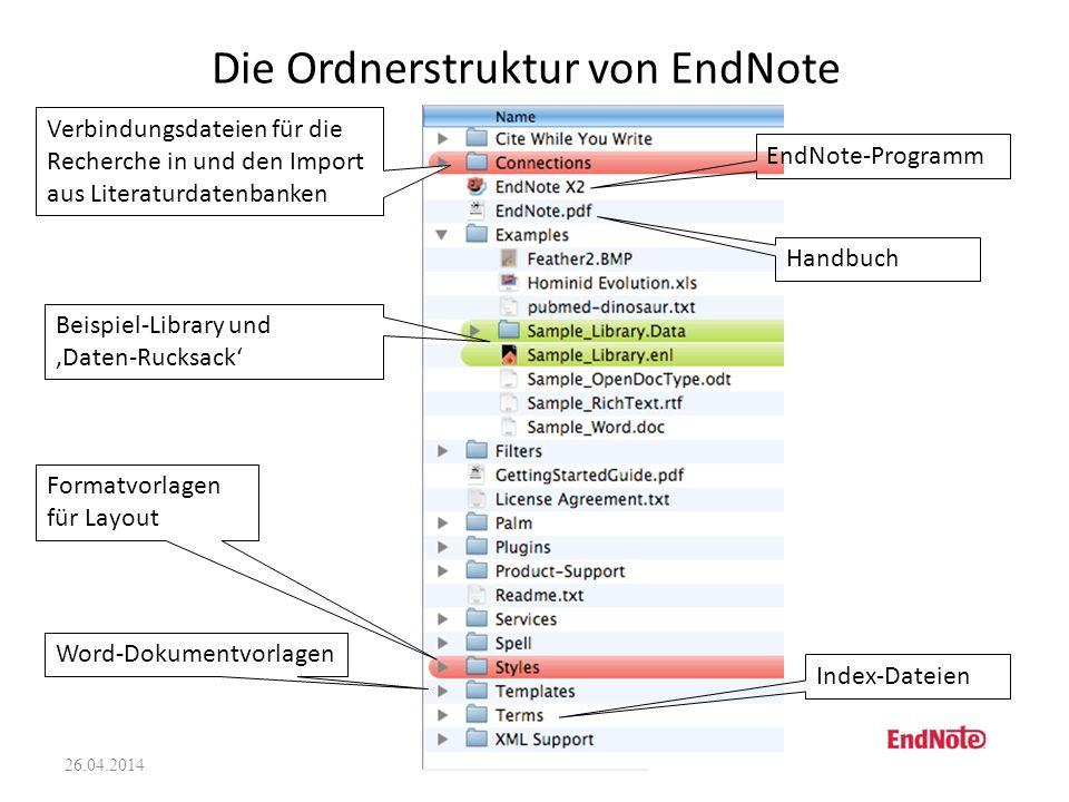 Die Ordnerstruktur von EndNote