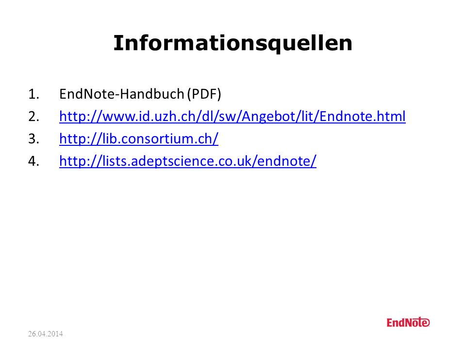Informationsquellen EndNote-Handbuch (PDF)