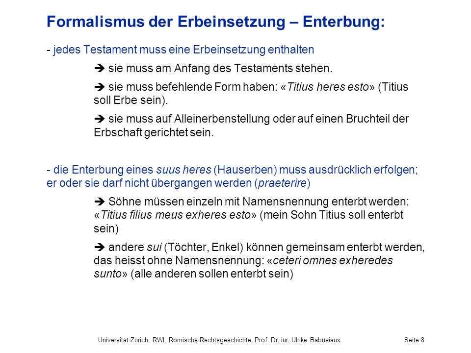 Formalismus der Erbeinsetzung – Enterbung:
