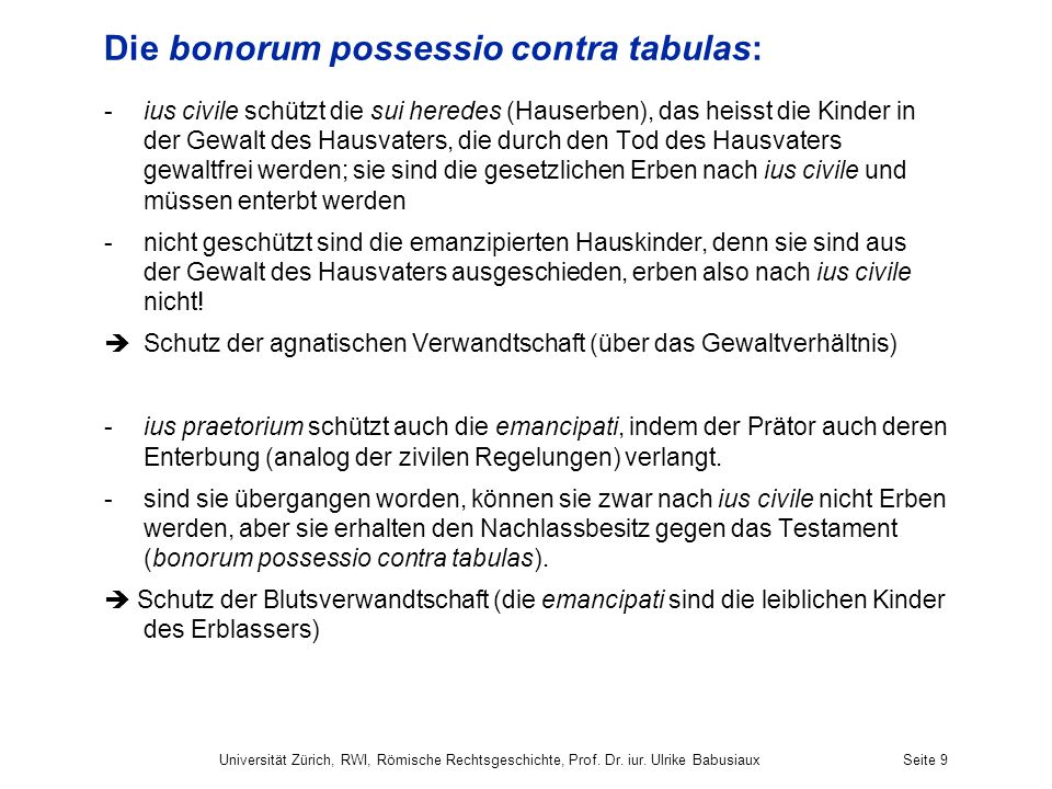 Die bonorum possessio contra tabulas: