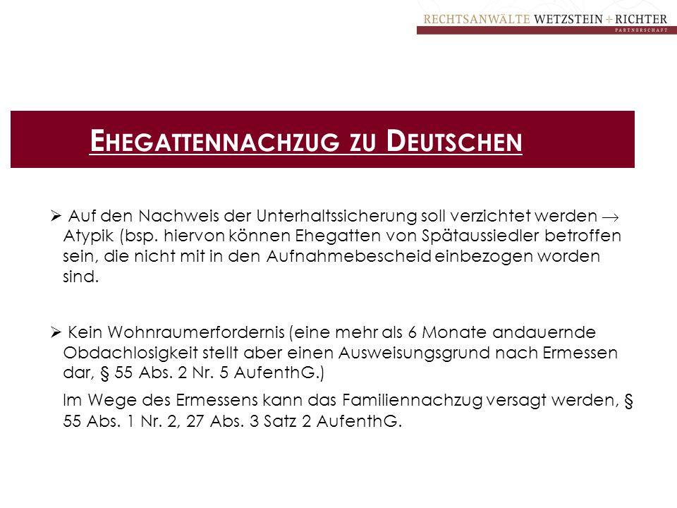Ehegattennachzug zu Deutschen